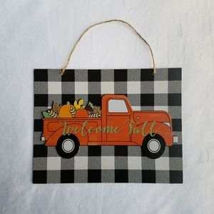 New! Welcome Fall Orange Pumpkin Truck Sign
